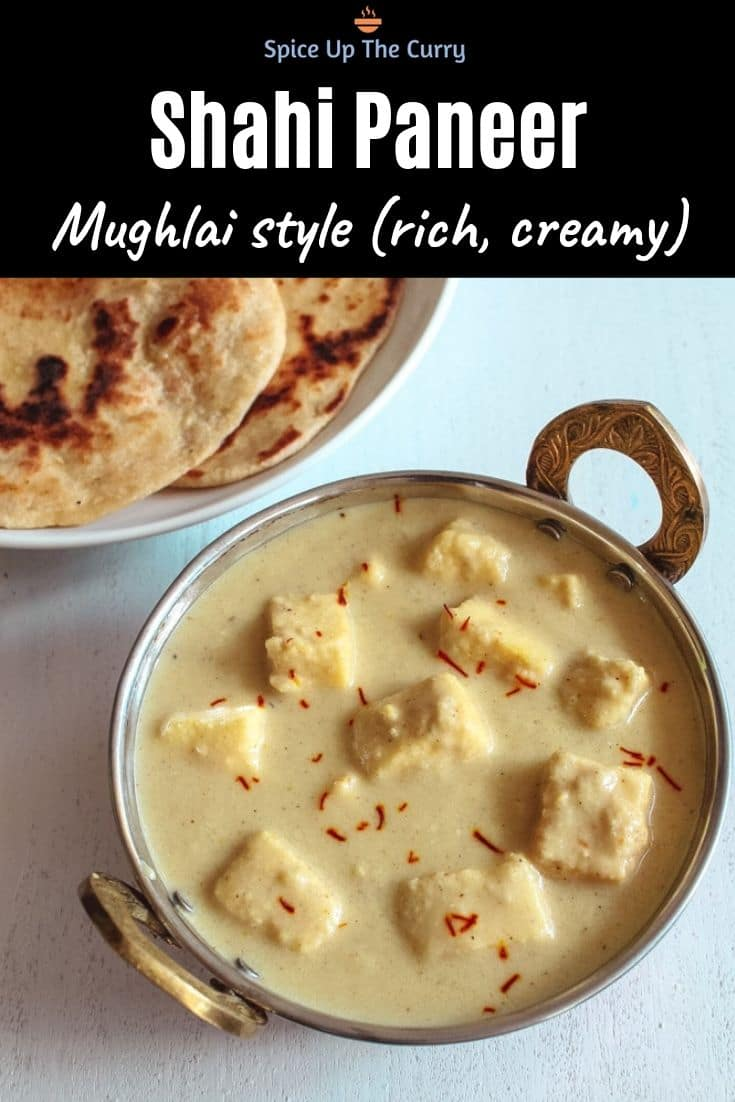 Mughlai Shahi Paneer Recipe (Mughlai Paneer in White Gravy) Pin