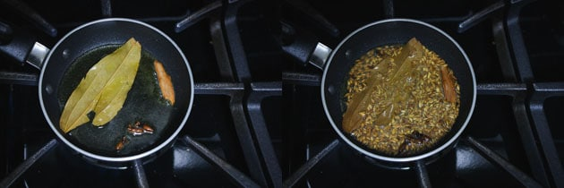 making tempering for jeera rice