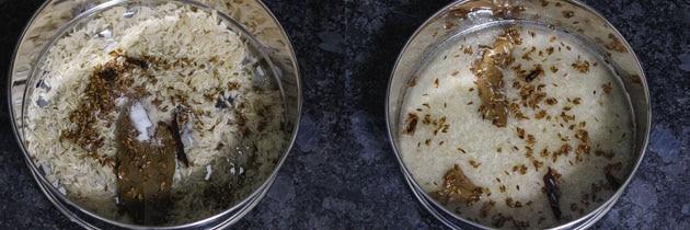 tadka added to soaked rice to make jeera rice