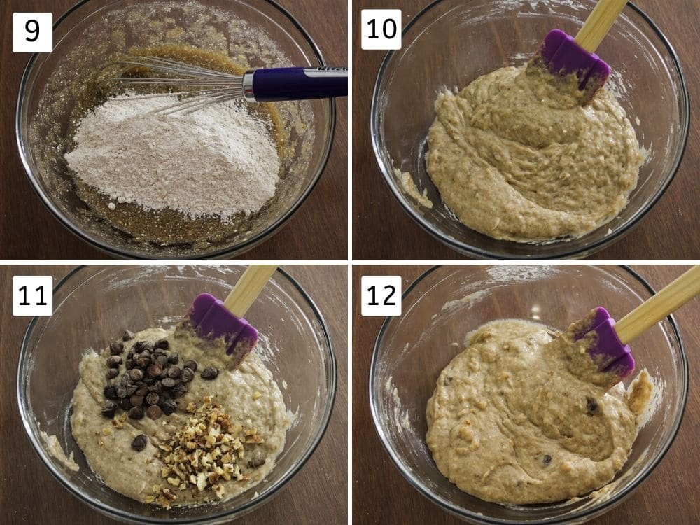 collage of muffin batter making steps