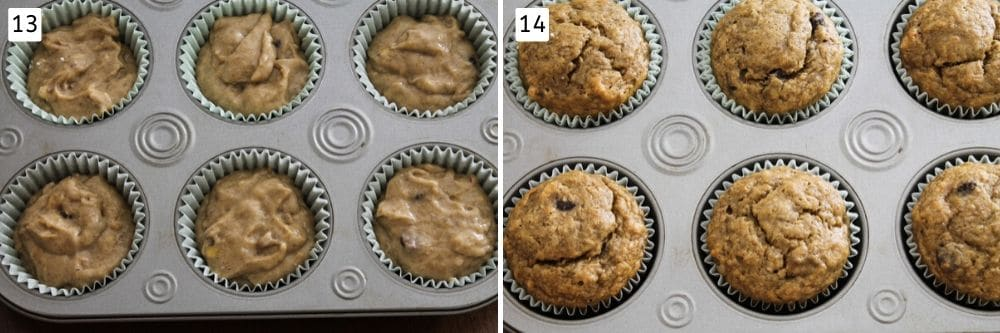 collage of unbaked batter and baked muffins pics