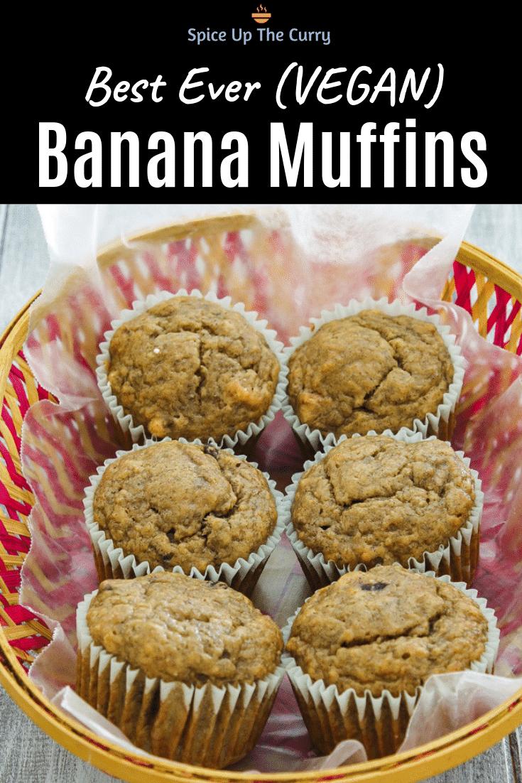 eggless banana muffins Pin