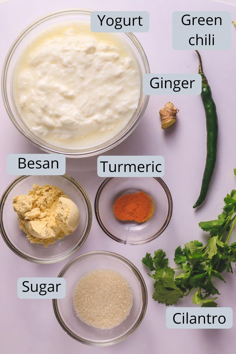 Gujarati kadhi ingredients