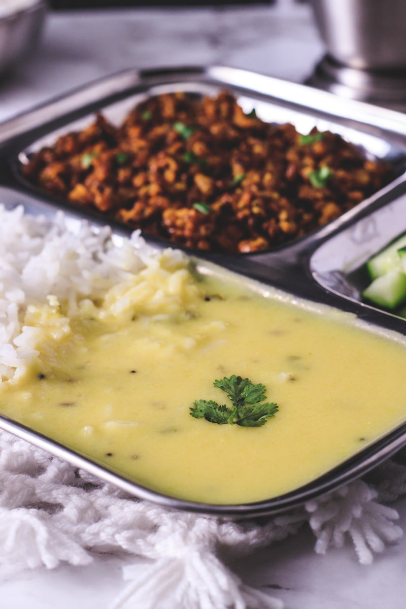 Gujarati kadhi served with rice
