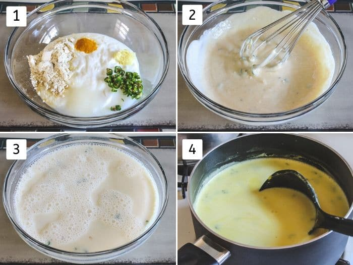 collage of making gujarati kadhi