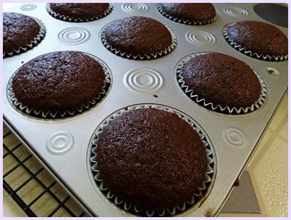 Eggless chocolate cupcakes out from the oven