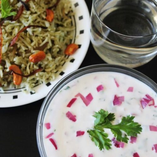 Onion raita recipe | How to make onion raita | Roasted onion raita