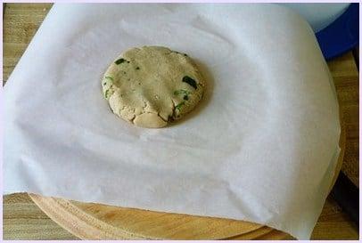 flattened dough ball