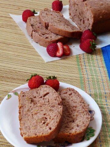 Eggless strawberry bread recipe (Vegan strawberry bread recipe)