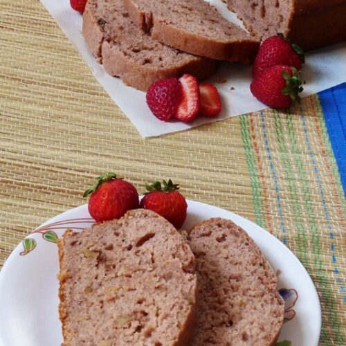 Eggless strawberry bread recipe (Vegan strawberry bread recipe)