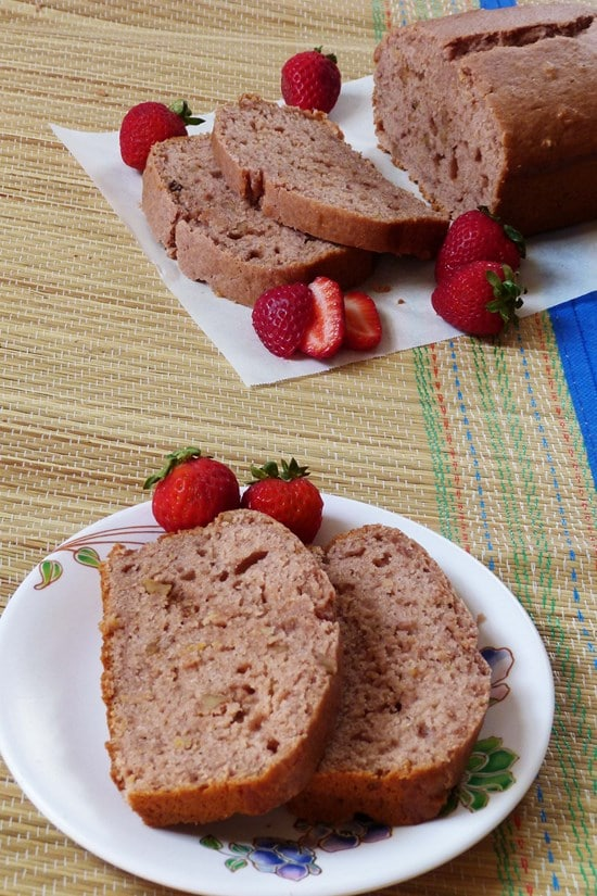 (Eggless, Vegan) strawberry bread recipe