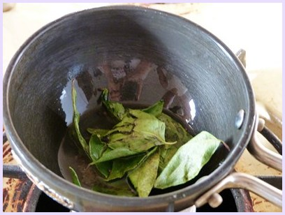 tempering curry leaves