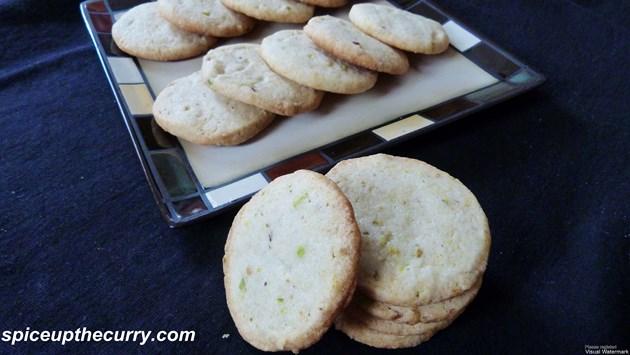 eggless pistachio lemon cookies