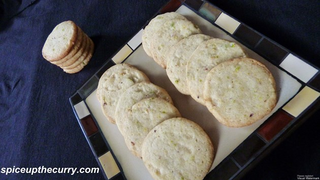 eggless pistachio lemon cookies