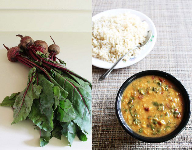 Beet Greens Dal - Beetroot Leaves dal recipe