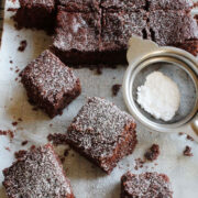 eggless brownies on parchment paper.