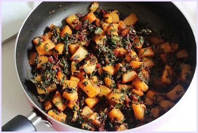 Aloo beet greens sabzi recipe (Potatoes with beetroot leaves)