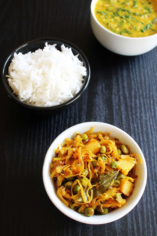 Cabbage Sabzi Kobi Vatana Bateta Nu Shaak Spice Up The Curry