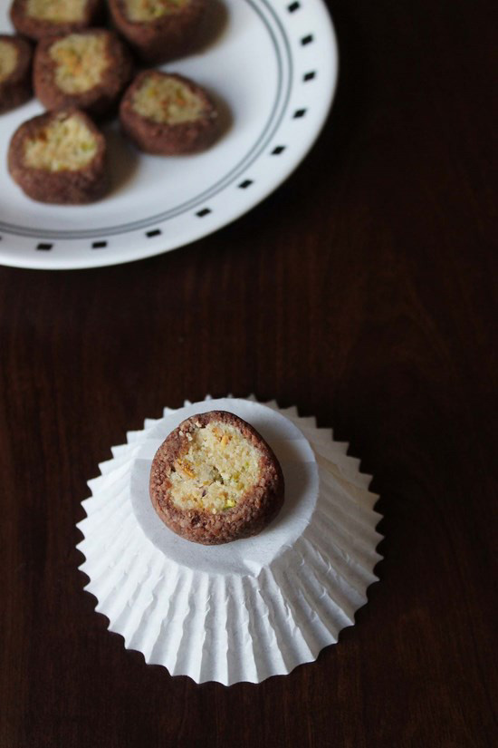 Chocolate Pista Rolls - Diwali sweets recipe