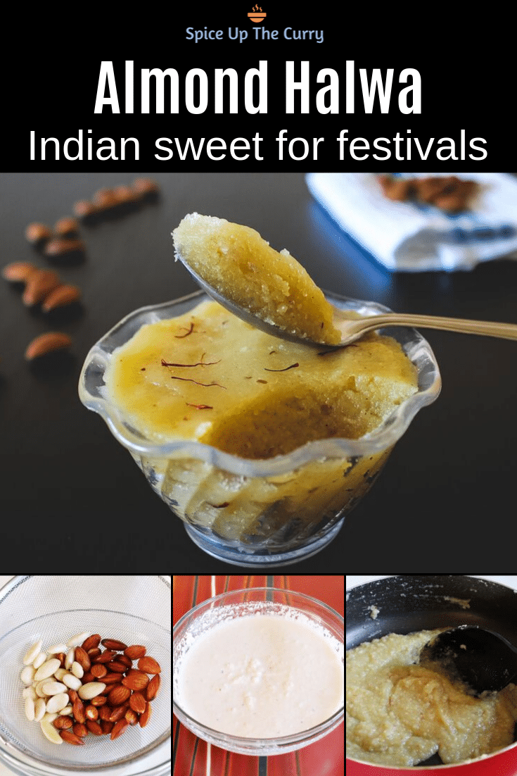 Badam Halwa Recipe (Almond Halwa/Sheera) pin