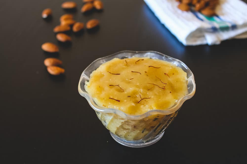 almond halwa recipe (almond sheera)