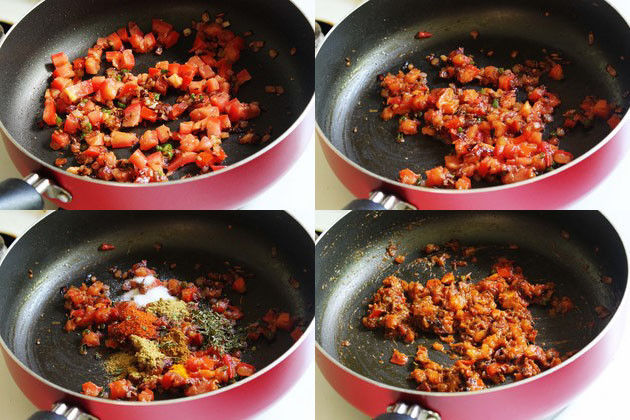 collage of cooking tomatoes with spice powders