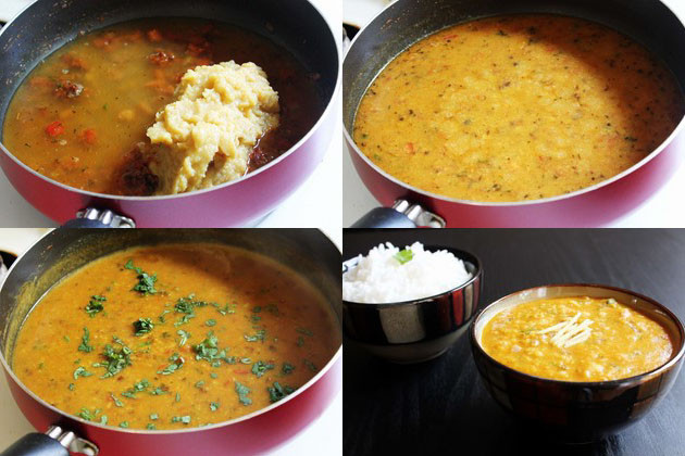 collage of adding and simmering the boiled dal