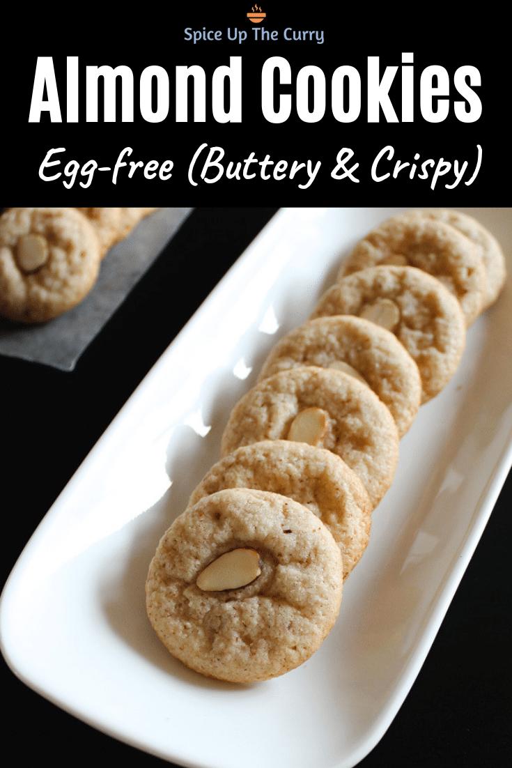 Eggless almond cookies recipe pin
