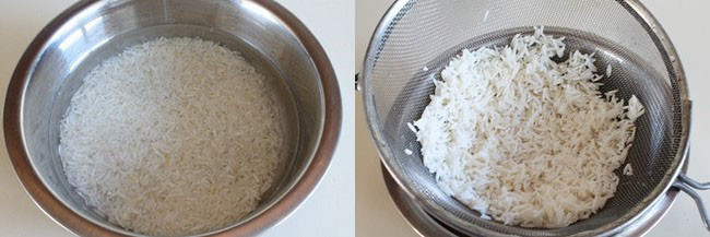 soak and drain rice