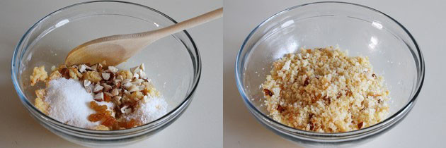 Mixing sugar and nuts to make mawa gujiya stuffing