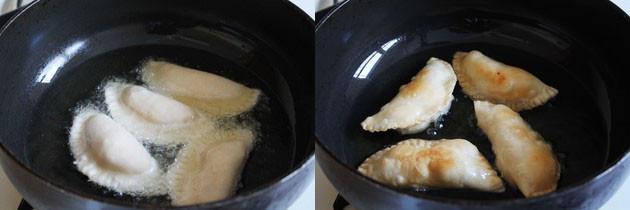 Fry gujiyas in hot oil/ghee in batches