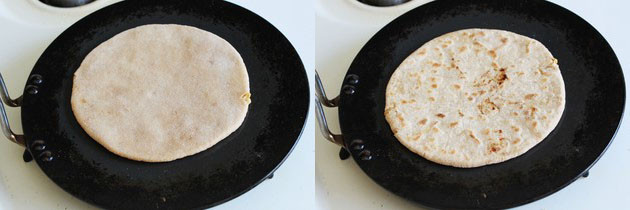 Cook puran poli on tawa