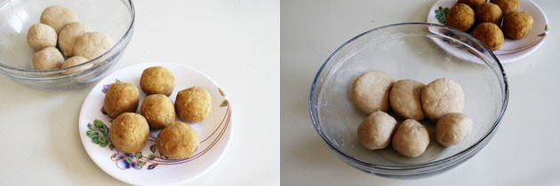 Divide puran and dough into balls for vedmi