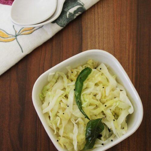 Cabbage Sambharo Recipe | Gujarati warm cabbage salad recipe