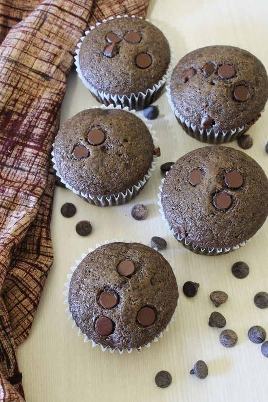 Eggless Chocolate Chocolate Chip Muffins Recipe (Double chocolate muffins)