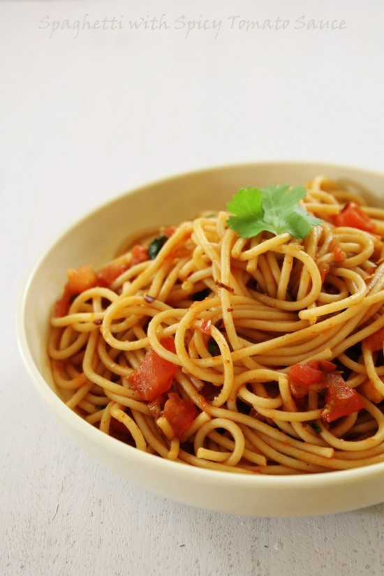 spaghetti with spicy tomato sauce recipe indian style spaghetti recipe