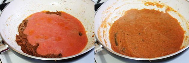 Cooking tomato puree to make gravy