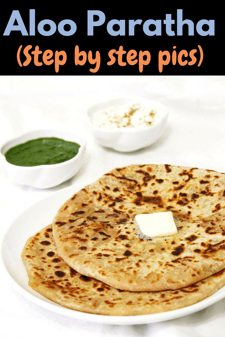 This is punjabi aloo paratha recipe where stuffing is made from boiled potatoes and few spices. Learn how to make easy, BEST aloo paratha with step by step photos. Serve this Indian breakfast with yogurt, mint chutney and pickle. This can make healthy lunchbox idea for kids. #indianbreakfast #paratha #lunchbox #healthy #vegetarian