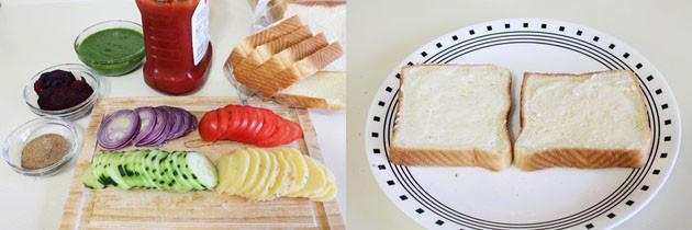 बॉम्बे वेज सैंडविच बनाने की विधि (Bombay Veg Sandwich Recipe in Hindi)
