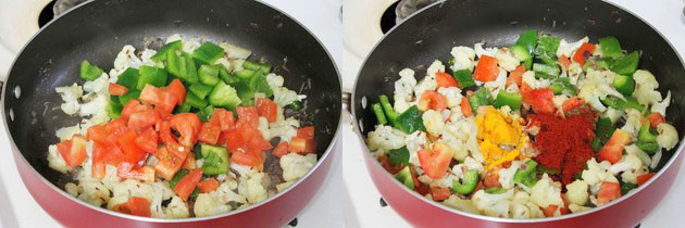 adding tomatoes, capsicum and spices