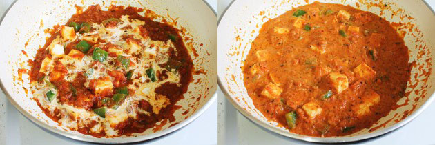adding heavy cream to kadai paneer gravy