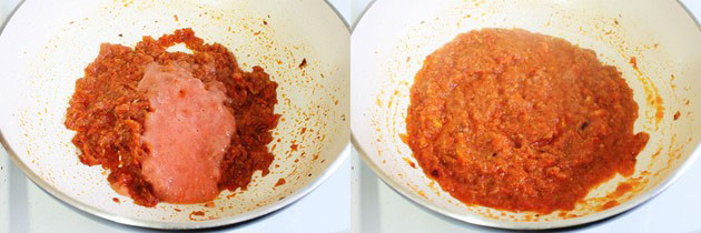 adding and cooking tomato puree