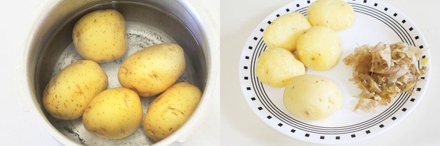 boil potatoes for aloo paratha stuffing