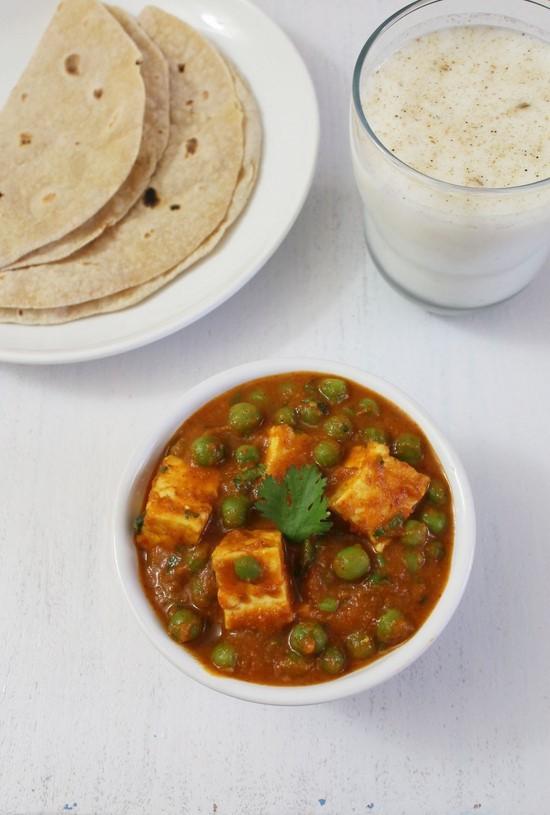 Matar Paneer Recipe   Punjabi mutter paneer curry recipe