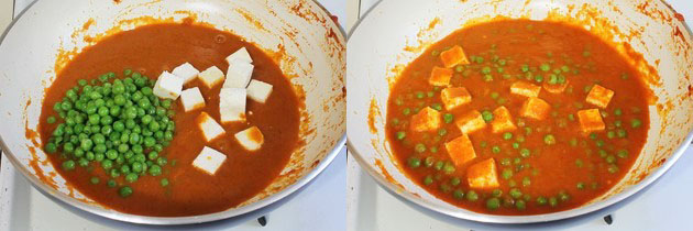 adding boiled peas and cubed paneer