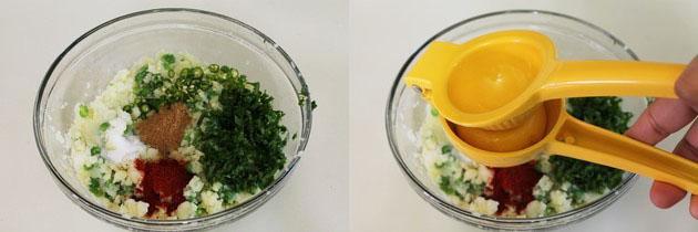 adding rest of tikki ingredients