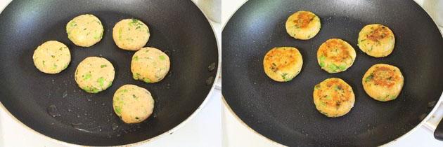 pan frying aloo tikki till crispy
