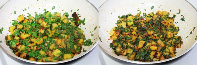 cooking till potatoes and methi are cooked