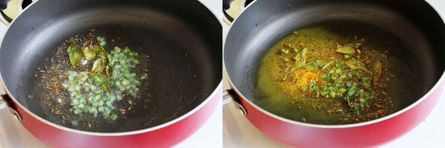 sauteing green chilies and curry leaves