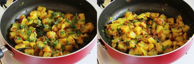 garnishing potato bhaji with cilantro